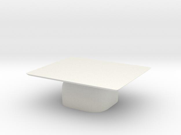 Modern Miniature 1:24 Coffee Table in White Natural Versatile Plastic: 1:24