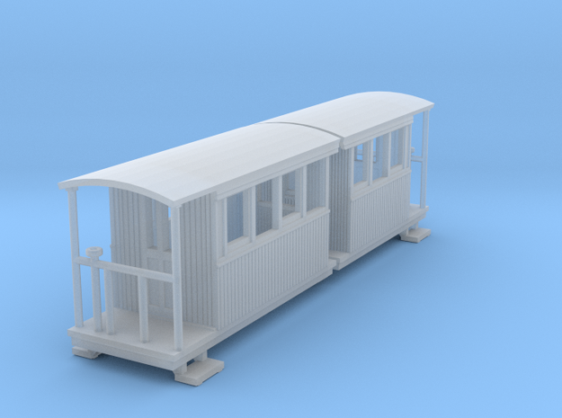 o-148fs-redlake-tramway-coach-3-4 in Smooth Fine Detail Plastic
