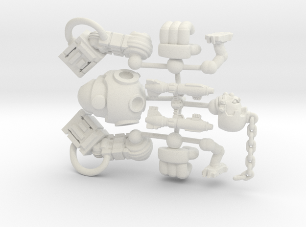 Mingrol Asasult Robot for Tabletop games 25mm tall in White Natural Versatile Plastic