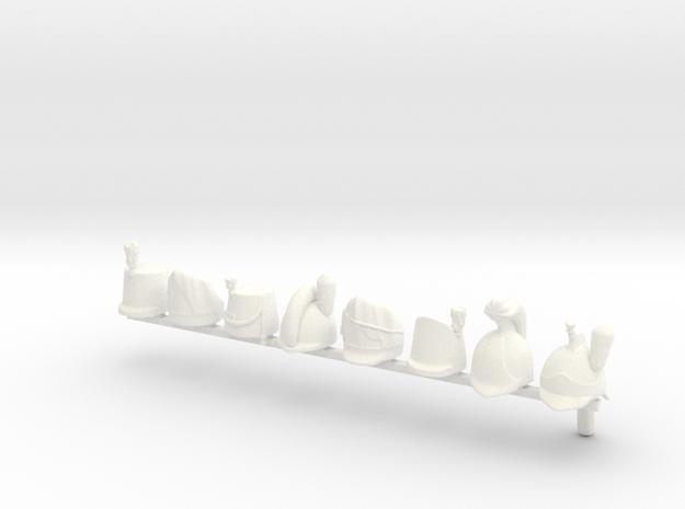 8 x British  Napoleonic Hats and Helmets in White Processed Versatile Plastic
