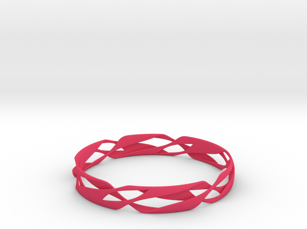 Stripes Bangle 2 in Pink Processed Versatile Plastic