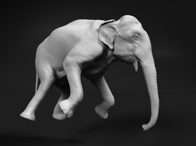 Indian Elephant 1:120 Female Hanging in Crane in Smooth Fine Detail Plastic