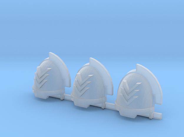 Chevrons Aggressive shoulder pads x3 R in Smooth Fine Detail Plastic