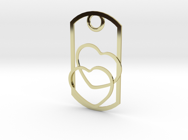 2 Hearts dog tag necklace pendant 3d printed