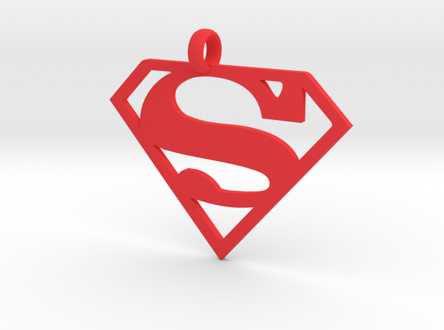 Superman necklace charm in Red Processed Versatile Plastic