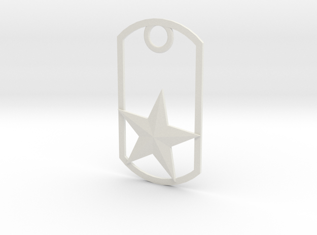 Star dog tag in White Natural Versatile Plastic