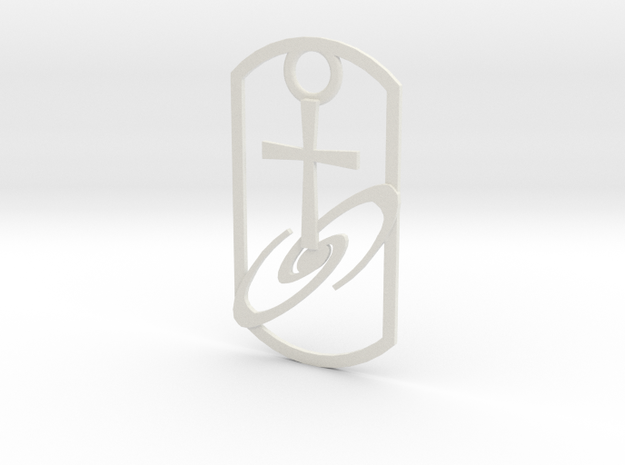 Dogtag-cross-galaxy2 in White Natural Versatile Plastic
