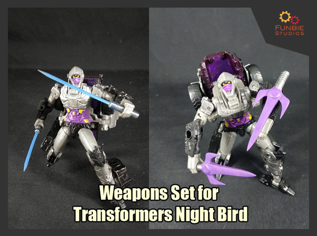 Weapons Set for Transformers Night Bird in White Natural Versatile Plastic
