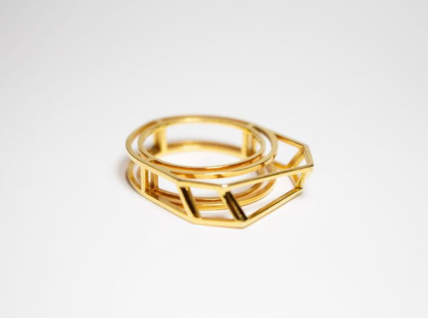 Gold Ring: 14k gold – statement, geometric in 14K Yellow Gold: 8 / 56.75