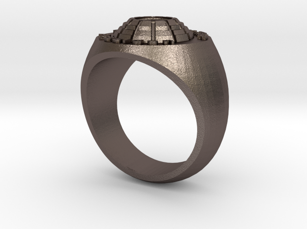 Man's Ring Steel Silver color in Polished Bronzed-Silver Steel