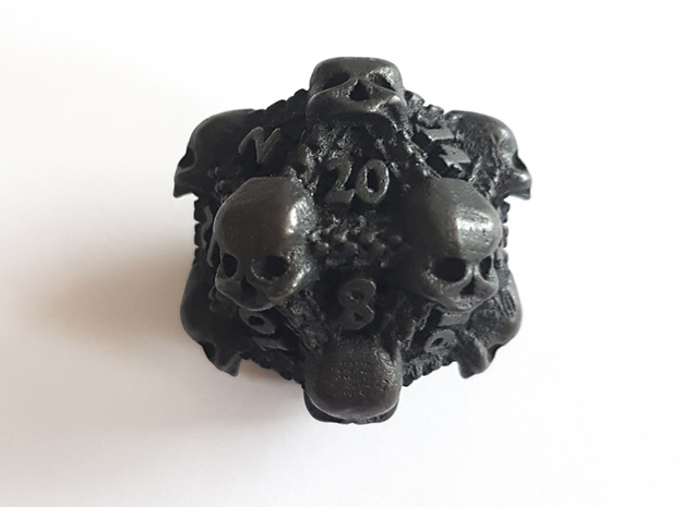 Necromancer's D20 in Polished and Bronzed Black Steel