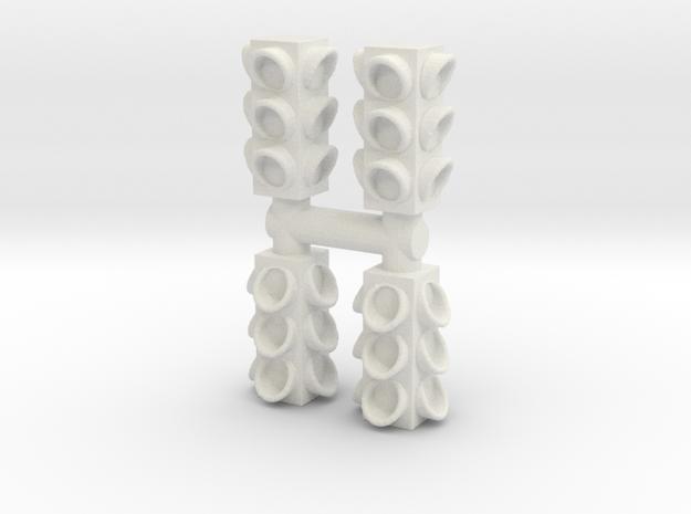4 Way Traffic Light (x4) 1/64 in White Natural Versatile Plastic