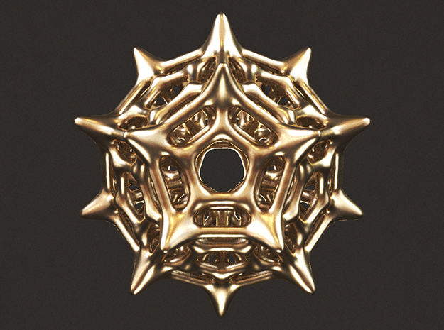 Dodecahedron Pendant Type C in Polished Gold Steel: Small