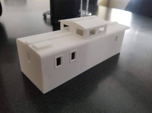 White Pass and Yukon Rotary Caboose in White Natural Versatile Plastic