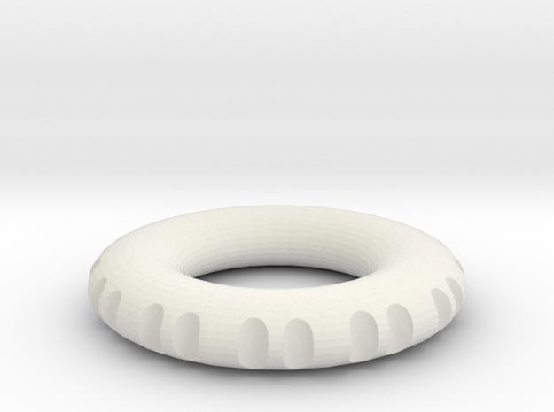 double edge rodin coil pendant 40 x 40 x 7 mm  in White Natural Versatile Plastic