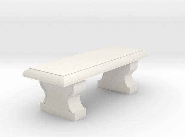Miniature 1:48 Classical Bench in White Natural Versatile Plastic