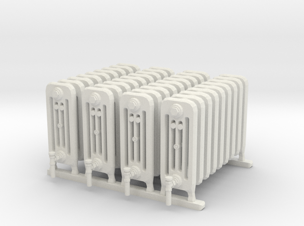 Radiator Heater 01. 1:24 Scale in White Natural Versatile Plastic