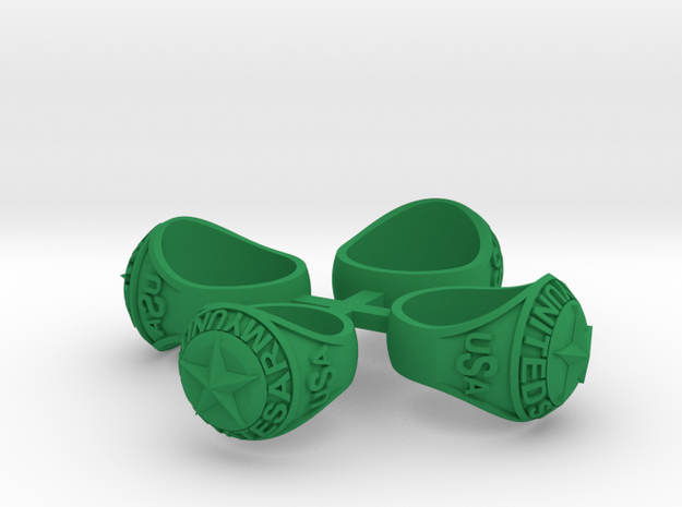 ARMY Ring Size 8.5, 10.5, 12 & 13 in Green Processed Versatile Plastic