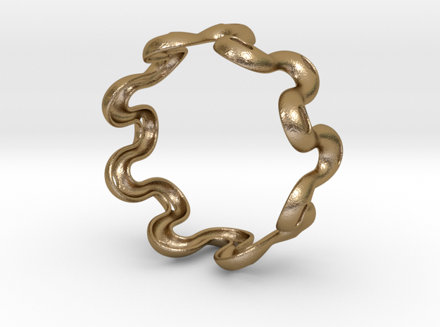 Wavy bracelet 2 - 70 in Polished Gold Steel