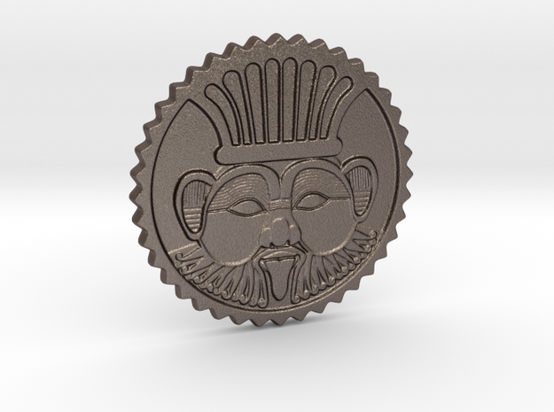 Bes coin amulet in Polished Bronzed-Silver Steel