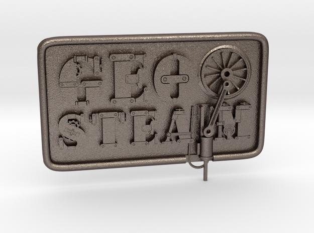 Geosteam-Emblem für Taschen in Polished Bronzed-Silver Steel