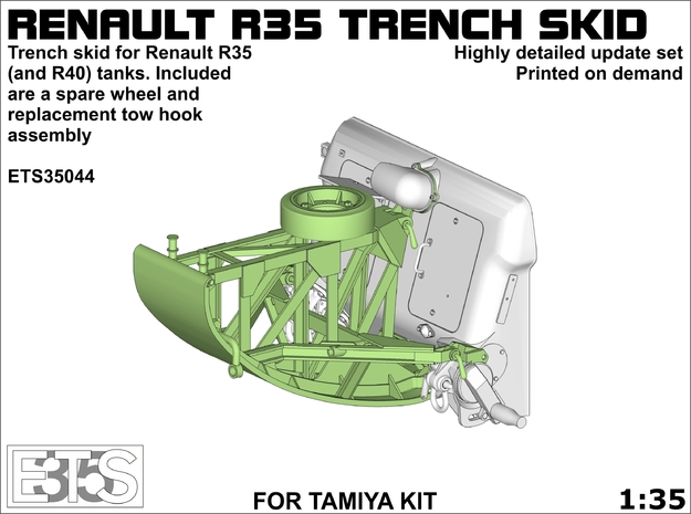 ETS35044 - Renault R35 Trench Skid (for Tamiya) in Smooth Fine Detail Plastic