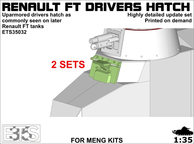 ETS35032- FT late drivers hatch 2x  in Smoothest Fine Detail Plastic