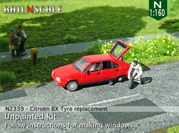 Citroën BX tyre replacement (N 1:160)