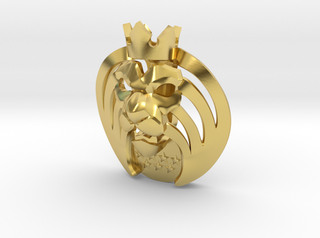 Mad Lions Pendant in Polished Brass