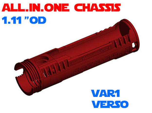 """ALL.IN.ONE - 1.11""""OD - Verso chassis Var1 in White Natural Versatile Plastic"""