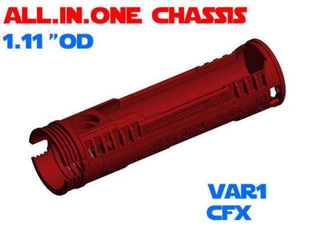 """ALL.IN.ONE - 1.11""""OD - CFX chassis Var1 in White Natural Versatile Plastic"""