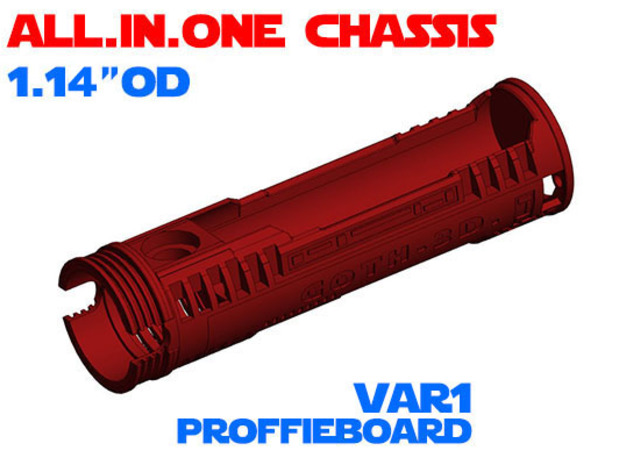 """ALL.IN.ONE - 1.14""""OD - Proffie chassis Var1 in White Natural Versatile Plastic"""
