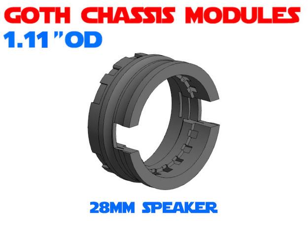 GCM111-03-03 - 28mm Bass speaker holder in White Natural Versatile Plastic