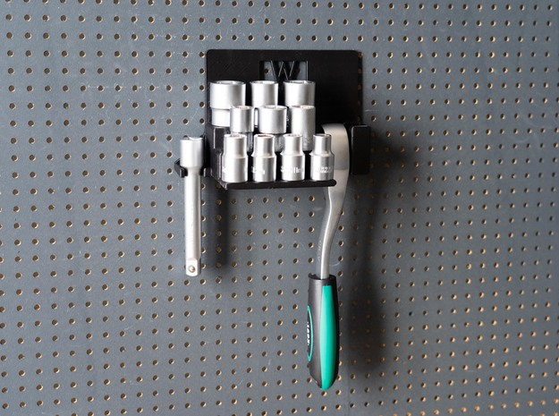 """Tool Holder for Socket Wrench Set 12pcs 1/2"""" with  in Black Natural Versatile Plastic"""
