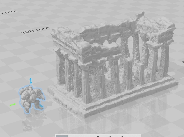 Greek ruins Epic Scale miniature for games micro in Gray PA12