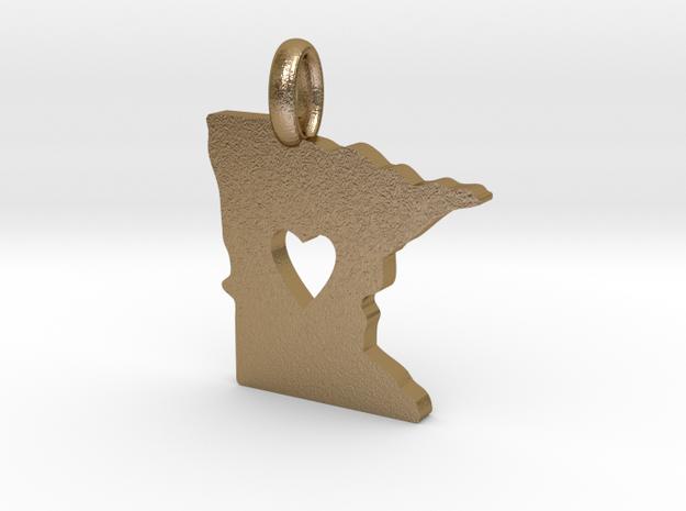 I Love Minnesota Pendant in Polished Gold Steel