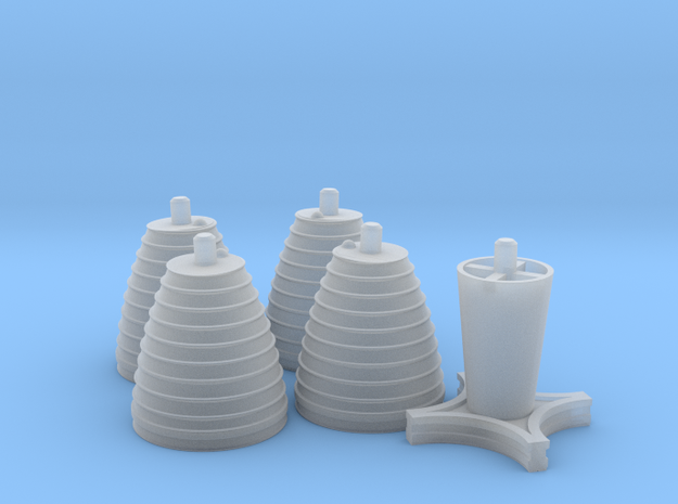 H-1 Engines Early Version (1:70 Inboards ONLY) in Smooth Fine Detail Plastic
