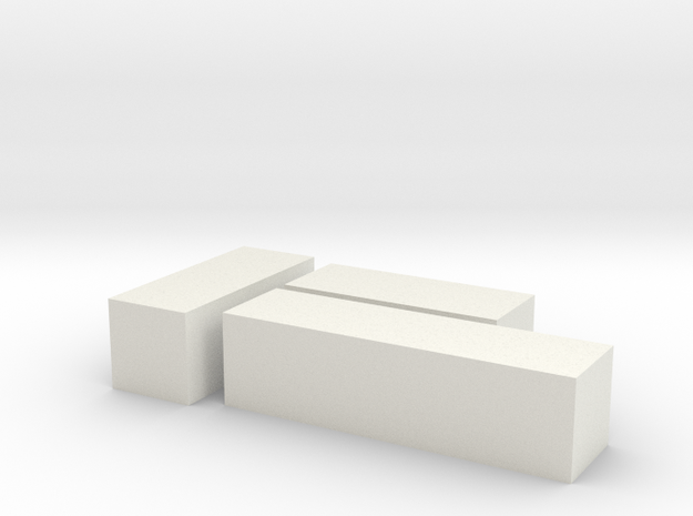 2mm scale 20' and 30' containers in White Natural Versatile Plastic