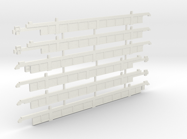 53' thrall well car sides in Nscale in White Natural Versatile Plastic