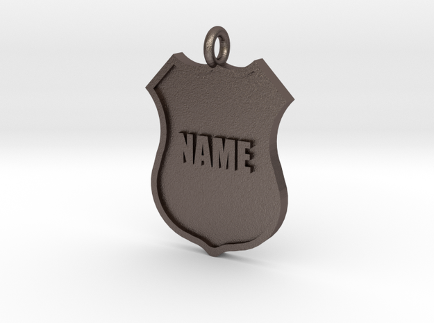 Police Shield Pet Tag / Key Fob in Polished Bronzed Silver Steel