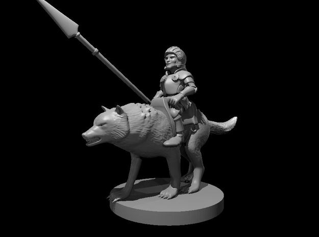 Halfling Cavalier with Wolf in Smooth Fine Detail Plastic
