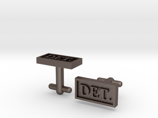 Detective Cufflinks - Style 1 in Polished Bronzed Silver Steel