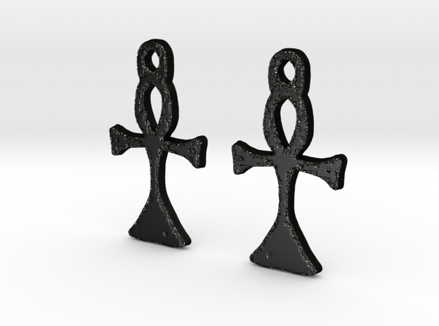 :Simple Ankh: Earrings in Matte Black Steel