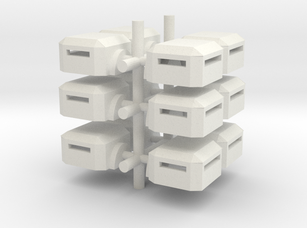 Square Bunker (x12) in White Natural Versatile Plastic