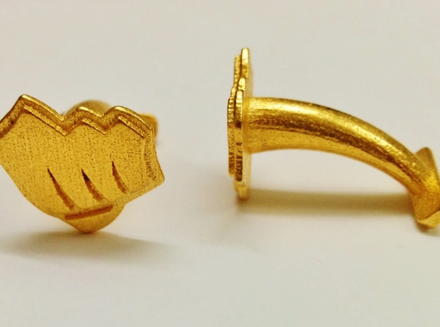 Riot Fist Cufflinks in Polished Gold Steel