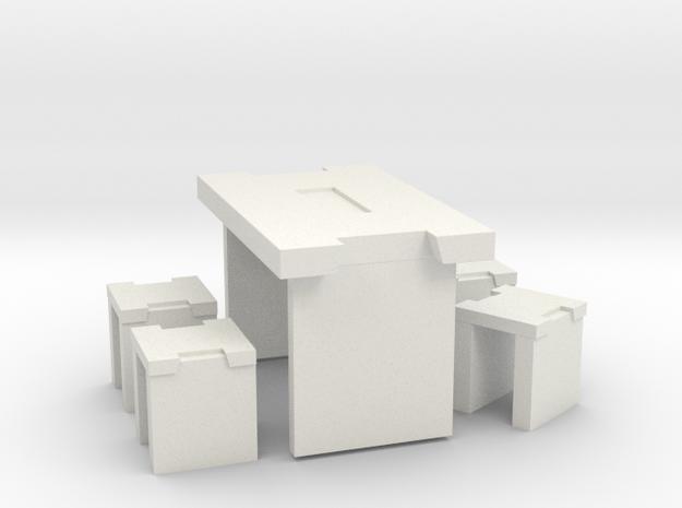 Table Set 1:24 in White Natural Versatile Plastic: 1:24