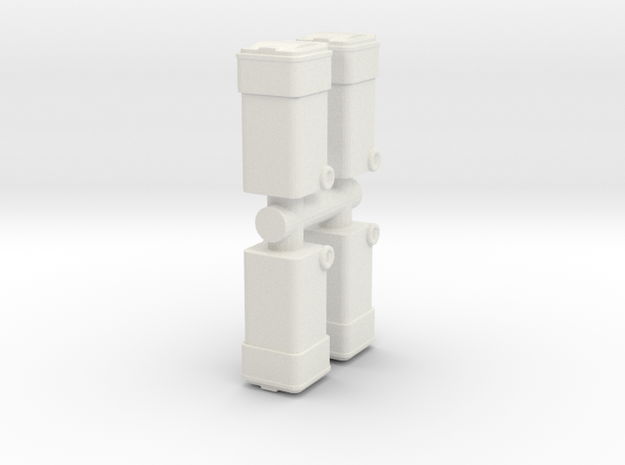 Waste Container Bin (x4) 1/64 in White Natural Versatile Plastic