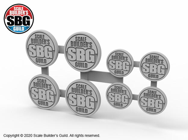 JK17021 Scale Builders Guild badges in Smooth Fine Detail Plastic