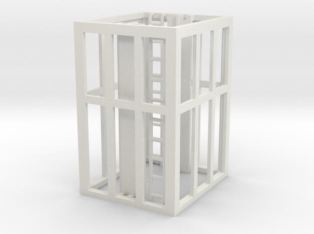 Aufzug Zwischengeschoß, verglast, ohne Lüftern in White Natural Versatile Plastic