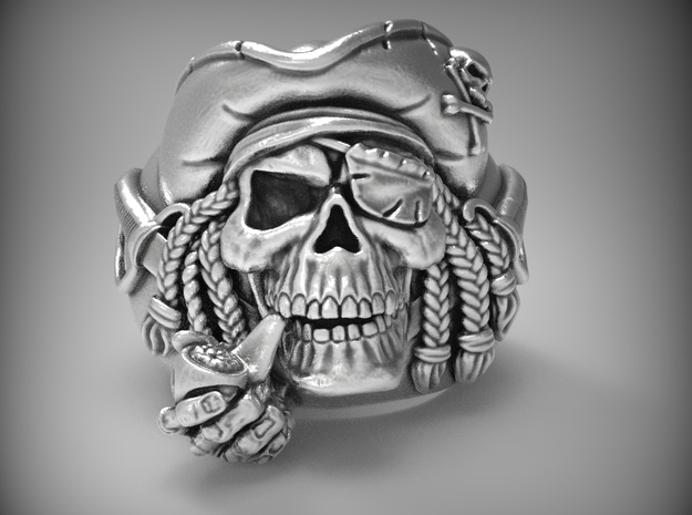 """""""Blue Beard"""" Pirate skull ring   in Natural Silver"""